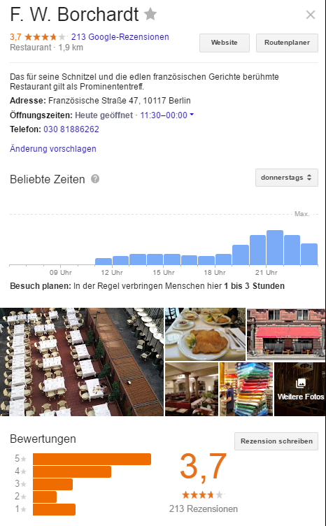 Hotel Borchardt - Screenshot Google 170404