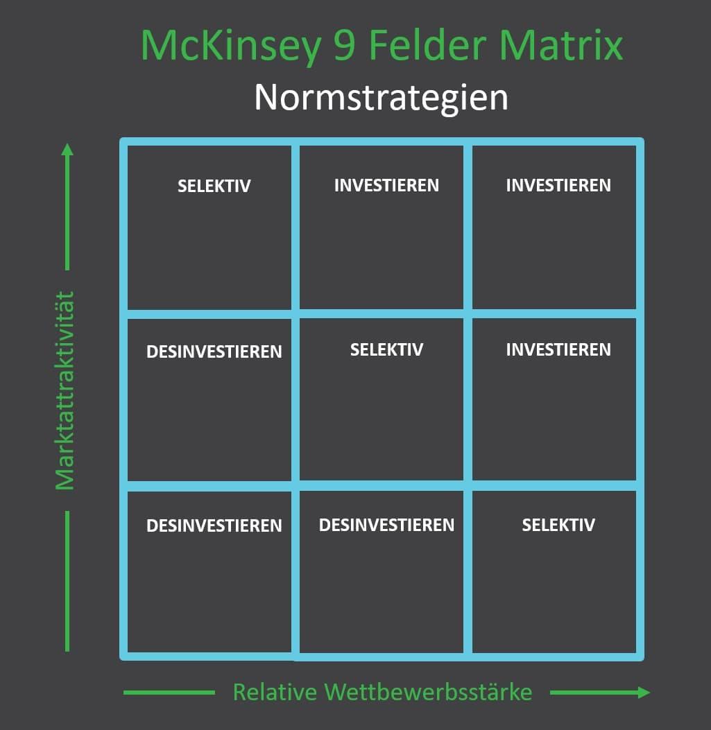 Normstrategien der McKinsey 9 Felder Matrix