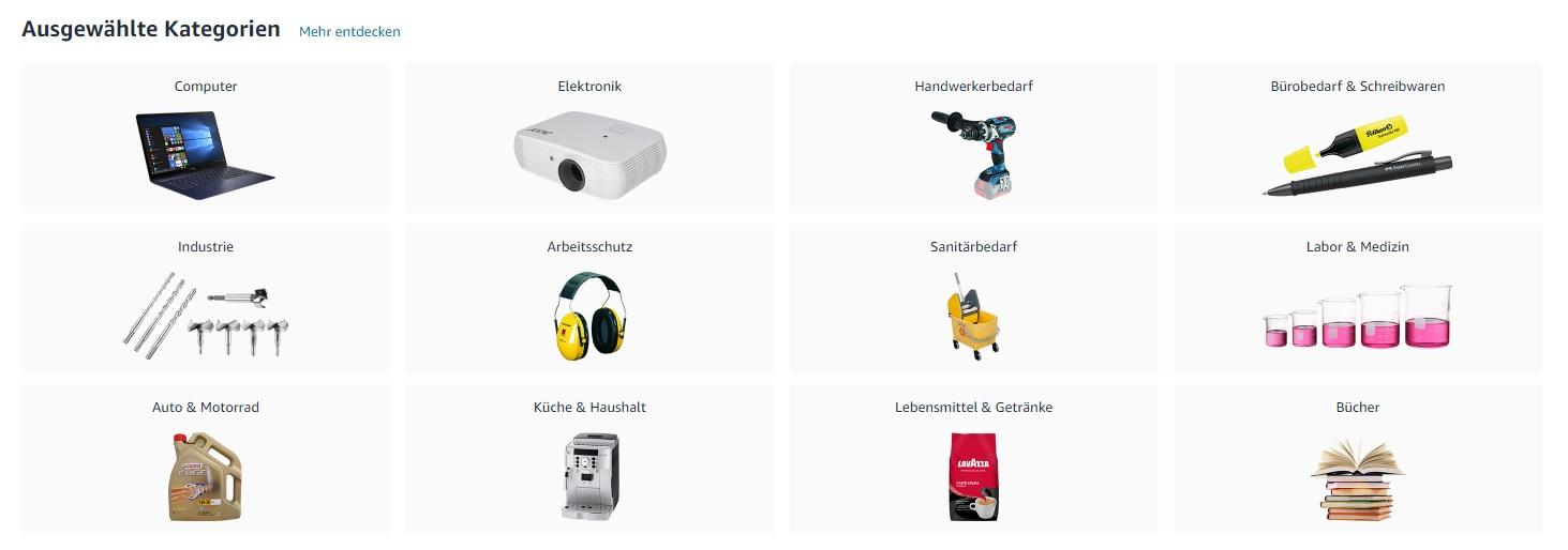 Ausgewählte Kategorien auf der Startseite von amazon Business